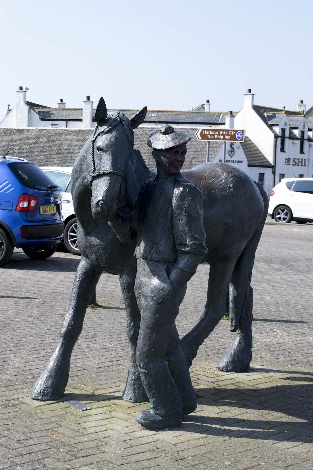 Sculpture of the 'Carter and his Horse' by David Annand at Irvine Harbourside. Pardes of horse-drawn carts are still used in celebrations of the annual Marymass festival.