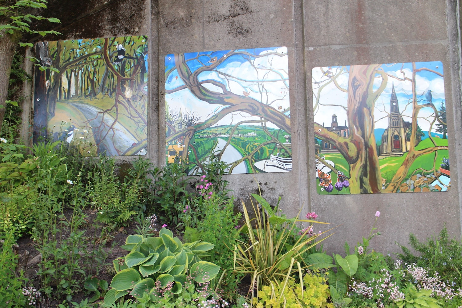 Artwork at Dalry railway station showcasing the nature of the town and district by artist Leo du Feu
