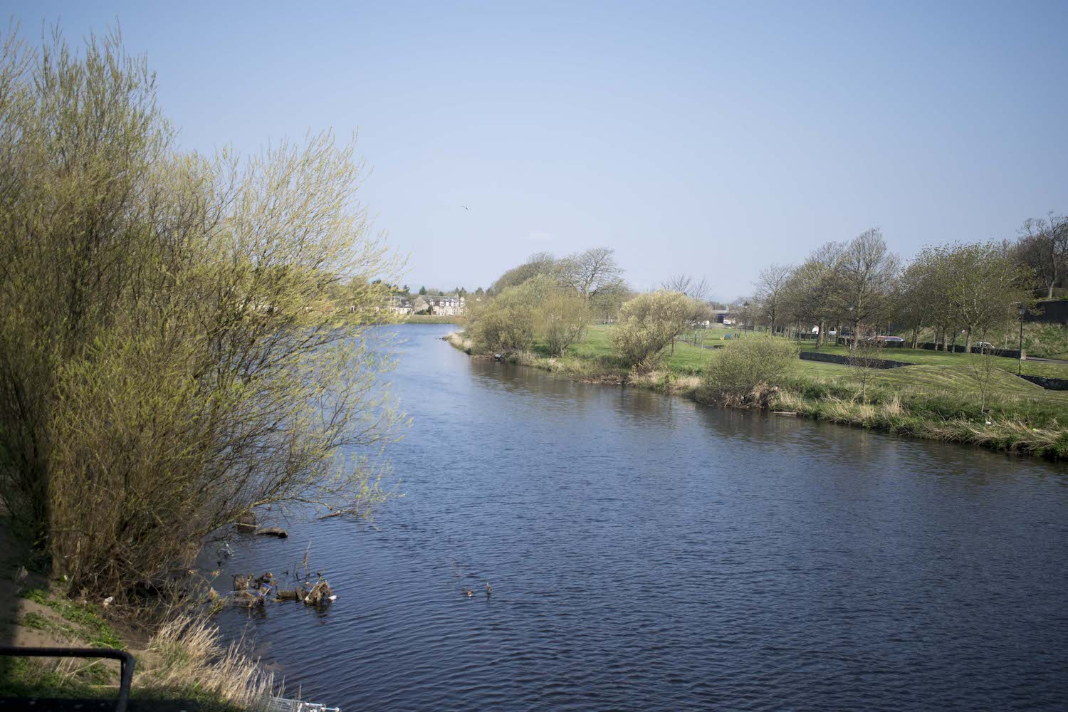 The River Irvine today, where the high tide mark once was. The river has since been widened and dredged.