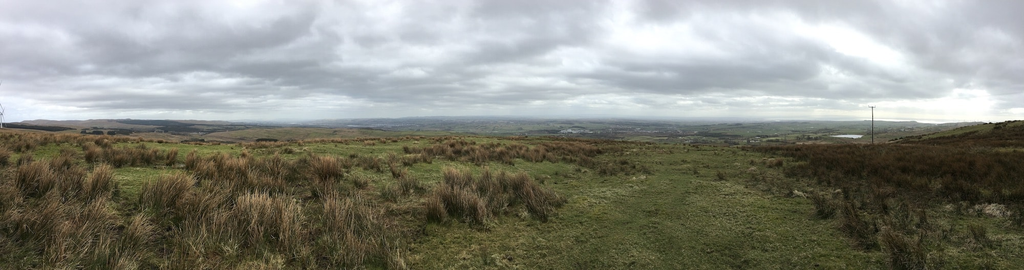 Panoramic photograph of Castle Semple Loch to Irvine Bay viewed from Baidlandhill outside Dalry
