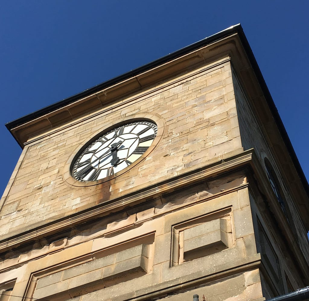 The clocktower of Nethermains Community Centre, built as a recreation hall for the workers of the Eglinton Iron Company, is the only surviving structure of the works.