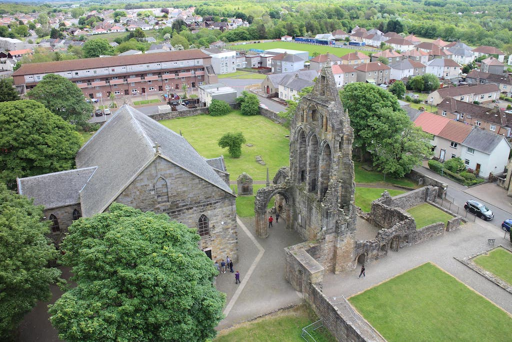 The site of Kilwinning Abbey as viewed from the top of the Abbey clocktower (part of the Heritage Centre)